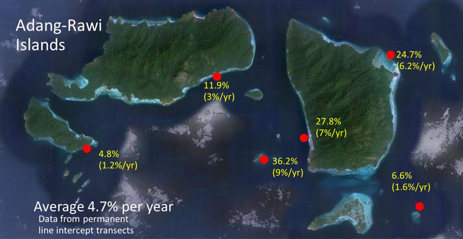 ภาพแผนที่ข้างล่าง เป็นตัวอย่างข้อมูลที่หมู่เกาะอาดัง-ราวี จ. สตูล